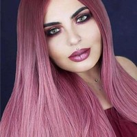 Long Ancient Pink Ombre Straight Synthetic Lace Front Wig