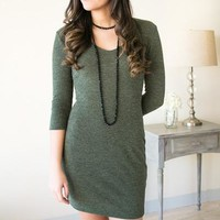 How About Now Olive Ribbed Dress