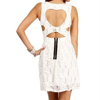Ivory Sequin Heart Shape Back Dress