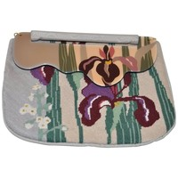 1980s Hand Painted Moon Bag by Patricia Smith. Clutch/Bag