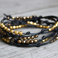 Beaded Leather Wrap Bracelet 3 or 4 Wrap with Gold or Silver Glass Beads on Genuine Black Leather
