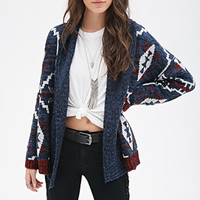 FOREVER 21 Tribal Pattern Cardigan Navy/Red