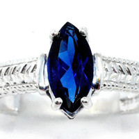 2 Carat Blue Sapphire Marquise Ring .925 Sterling Silver Rhodium Finish White Gold Quality