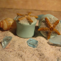 """Pair of Real Starfish on Seafoam Green Plugs with Real Beach Sand - Handmade Girly Gauges - Size 2g, 0g, 00g, 7/16"""", 1/2"""", 9/16"""", 5/8"""", 3/4"""""""