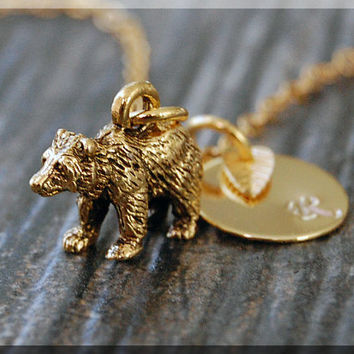 Gold Bear Charm Necklace, Initial Charm Necklace, Personalized, Grizzly Bear Pendant, Wild Life Jewelry, Monogram Forest Animal Necklace