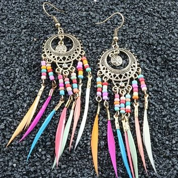 Vintage Hollow Oval Colorful Rice Beads Tassel Earrings Feather Earrings Stockings Shoes Dress Bikini bag