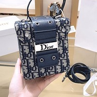DIOR Retro Women Shopping Bag Canvas Box Handbag Tote Shoulder Bag Crossbody Satchel