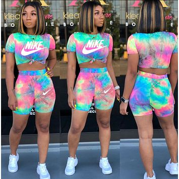NIKE Fashion Women Casual Print Short Sleeve Top Shorts Set Two-Piece Sportswear