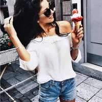 White Off Shoulder Lace Collar Chiffon Shirt