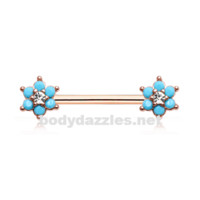 Pair of Rose Gold Turquoise Spring Flower Sparkle Prong Set Nipple Barbell Ring
