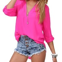 S-MSS Women's Spicy Girl Solid V-neck Loose Chiffon Shirt Blouse:Amazon:Clothing