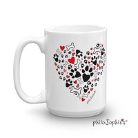 I Heart my Dog - Paw print heart mug