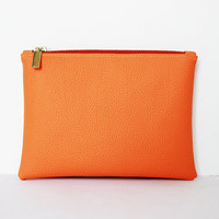Orange Vegan Leather Clutch Purse.Small Wallet Pouch.Portfolio Bag.AVAILABLE IN 3 SIZES
