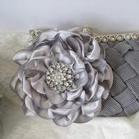 Gray Pleated Front Satin Rhinestone Framed Wedding Bridesmaid Clutch  with a Silver Gray Satin Flower and Rhinestone Accent Purses Hand Bags