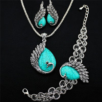 Vintage Look Cute Peacock Pendant Necklace Bracelet Earrings Turquoise Jewelry Sets (Color: Green) = 1946802692