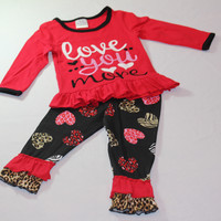 Kids Two- Piece Valentines Day Set Red and Black with Love