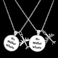 No Matter Where Airplane Long Distance Best Friends Sisters Necklace Set