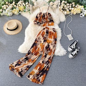 2021 Women's Summer Sets Vacation Style Printed Short Camisole Pleated High-waist Wide-leg Pants Two-piece New Casual Sets LL956