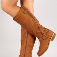 Marina-1 Slanted Zipper Knee High Riding Boot