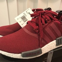 ADIDAS NMD R1 Euro Release Only DA9300 Maroon Red White Size 8.5 Mens 100% Auth