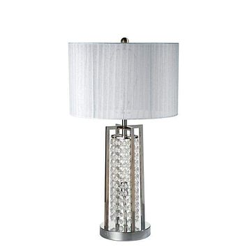 Crystal And Metal Base Table Lamp With Night Light - Silver