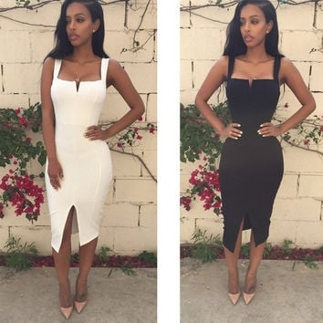 Bandage Dress 2015 Sexy Party Dress Knee Length Pencil Midi Dress Sexy Bodycon Women Dress = 1946729156