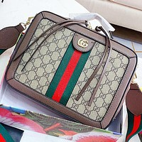 GUCCI New fashion stripe more letter print leather shoulder bag crossbody bag handbag