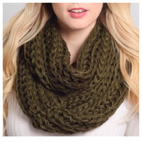 Thick Chunky Braid Olive Infinity Scarf