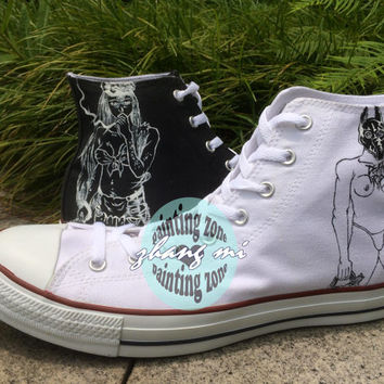 Customizable Converse All Star Hand Painted Band Canvas Sneaker for Men Women
