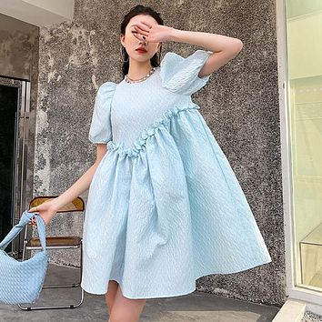 New Design Lace Three-dimensional Fabric Puff Sleeve O-Neck A-Line Above Knee, Mini Dress for Women