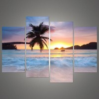 4 Panel painting ocean sea art canvas Wall hanging art art sunset yellow Picture Modern living room Decorative H 015