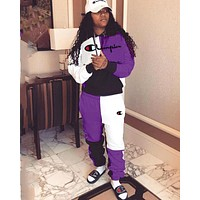 Champion new women's embroidery letter sports suit two-piece Purple