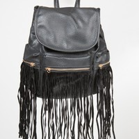Western Faux Leather Fringe Backpack