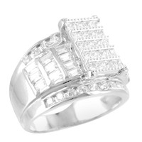 Womens Wedding Ring Cinderella White Gold Finish Baguette Princess Lab Diamond