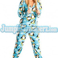 Penguins - Hooded Footed Pajamas - Pajamas Footie PJs Onesuit One Piece Adult Pajamas - JumpinJammerz.com
