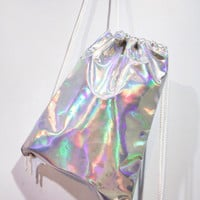 Holographic Drawstring Bag Hologram Backpack Clear Rucksack Transparent Shoulder Travel Bag