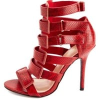 Python Print Strappy Cut-Out Heels by Charlotte Russe - Red