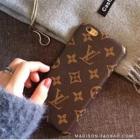 LV Big iPhone7 / 8plus mobile phone shell leather half package hard shell iPhone6s protective sleeve tide brand