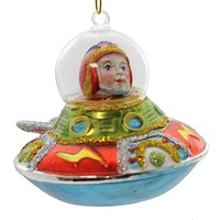 Holiday Ornament SPACESHIP ORNAMENT Glass Space Travel Christmas TT0146 RED