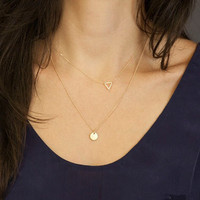 Triangle & Sequin Pendant Layered Necklace