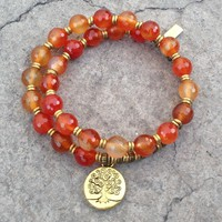 Faceted Carnelian, Sacral Chakra, 27 Bead Wrist Mala Bracelet with Tree Of Life Charm
