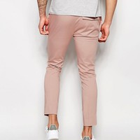 ASOS Superskinny Cropped Pant In Pink Cotton Sateen at asos.com