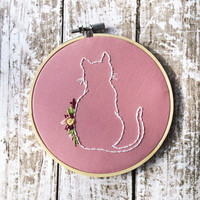Cat embroidery Floral hoop art Custom needlepoint Hand embroidery Silhouette Cute wall decor Cat Embroidery Pink floral cat art