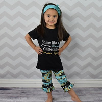 """Baby Girl's Outfit, """"Shine Like A Diamond"""" Aztec, Ruffled Capri Pant, Toddler Girl Outfit, Kids Clothes, Children's Clothing, Spring, Summer"""