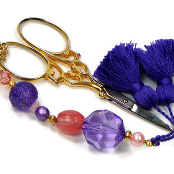 Scissor Fob, Purple Violet, Peach, Quilting, Sewing, Cross Stitch, Beaded, Gift for Crafter, DIY Crafts, TJBdesigns