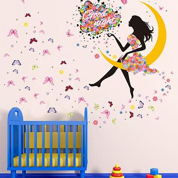 Princess Butterfly Moon Girls Art Decal Wall Stickers For Home Decor Mural Kids Bedroom Living Room Wall Decoration