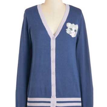ModCloth Scholastic Mid-length Long Sleeve Mew Have Style Cardigan