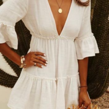 Pleated V-neck Halter Trumpet Sleeve Beach Sunscreen Clothing Vacation Skirt Swimsuit Outside Sweater
