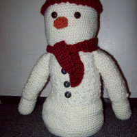 Crochet Snowman With Hat And Scarf 14 inch Amigurumi Snowman Home Decor