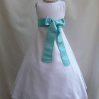 Flower Girl Satin Dress White with Turquoise for Easter Wedding Bridesmaid